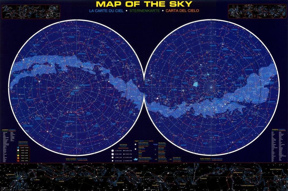 Skymapscom Astronomy Posters - Star sky map over eastern us